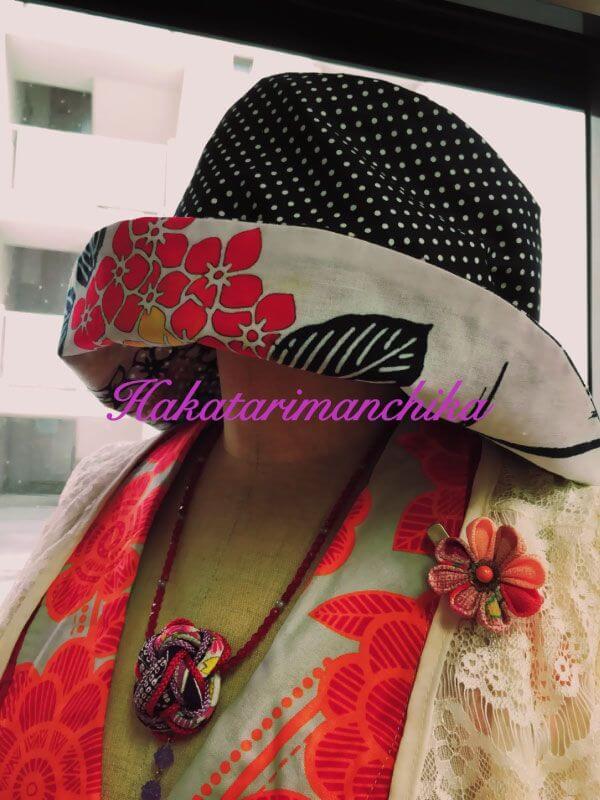 着物リメイク・リバーシブル帽子2016