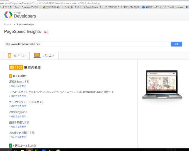 PageSpeed Insights・PC版