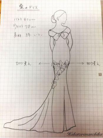 藍のドレスデザイン画