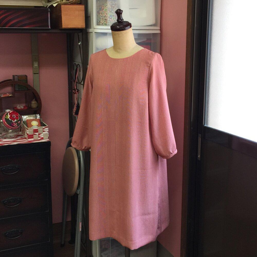 江戸紬からのワンピース